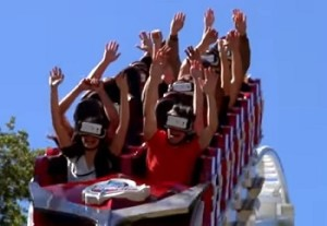 The New Revolution Virtual Reality Coaster at Six Flags Magic Mountain