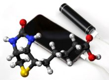 Vitamin powered phone battery - Vitamin B molecule with mobile phone and battery charger