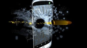 unbreakable phone screen - mobile phone with bullet