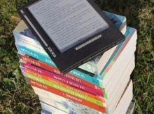 Nook ereader - ereader device on top of books